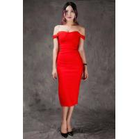 Quality Summer Bodycon Dresses Red , Mid Length Bodycon Dresses A - Line for sale