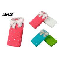 China Leather Cell Phone Cases with Bowknot Jewelry Stand PU Wallet Cover for iPhone 4 / 4S wholesale