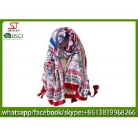 China manufactuer women lady national style print scarf  wavy floral tassel stripe 90*180cm 105g 100%polyester  voile
