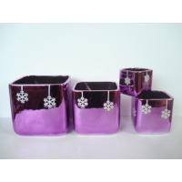 Wholesale Purple Electroplate Ceramic Indoor Plant Pots , Square Ceramic Pots For Plants 10 X 10 X 10 Cm from china suppliers
