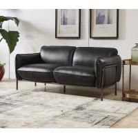 Antique Slate Color Black Leather Two Seater Sofa Bed With Steel Frame Old Finishing