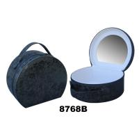 China Round Ladies Makeup Box With Mirror , Paper Custom Train Case Makeup Bag wholesale