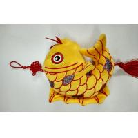 Wholesale Flocking Cloth The Auspicious Yellow Carp with Chinese Knot Custom Promotional Toys from china suppliers