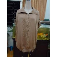 Wholesale 100% Viscose Womens Fashion Tops Bow Back Waist Button Up Shirts  Tops Elastic Cuff from china suppliers