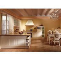 American Solid Wood White Laminate Kitchen Cabinets U Shaped Tanditional Design
