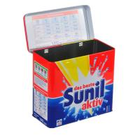 China Sunil Washing Powder Metal Tin Container Box / Lid With Hinger , Silver Inside wholesale