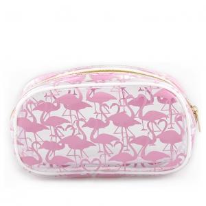 Custom Pink Glitter Zipper Cosmetic BagsPVC Zip Closure With Brush Holder
