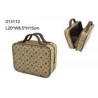 China Square Zippered PU Makeup Cosmetic Bag , Brown Makeup Bag Personalized wholesale