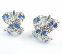 Wholesale - Blue and White Crystals Cross Cufflinks from china suppliers