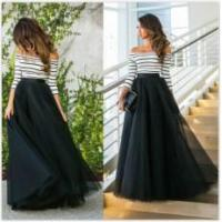 Wholesale Fashion Off Shoulder Patchwork Stripe Bubble Evening Party Dress from china suppliers