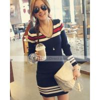 Wholesale Loeque Womens Designer Strip One-Piece Dress from china suppliers