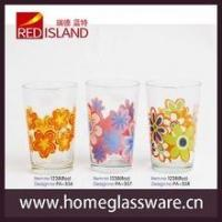 Wholesale The classic pattern design wholesale 8oz drinking glass cup with frosted flower decoration from china suppliers