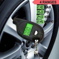keychain LCD tire pressure gauge with led light Portable Mini tyre guage
