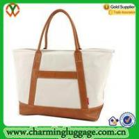 Cotton tote bag Factory Good Quality Canvas Tote Bag with Leather Trim