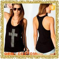 Wholesale black cross rhinstone ladies stringer tank top wholesale from china suppliers