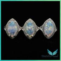 Wholesale Alibaba Unique Design marquise shape white synthetic Opal Rings