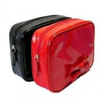 China Glitter PU leather cosmetic bag with ribbon wholesale