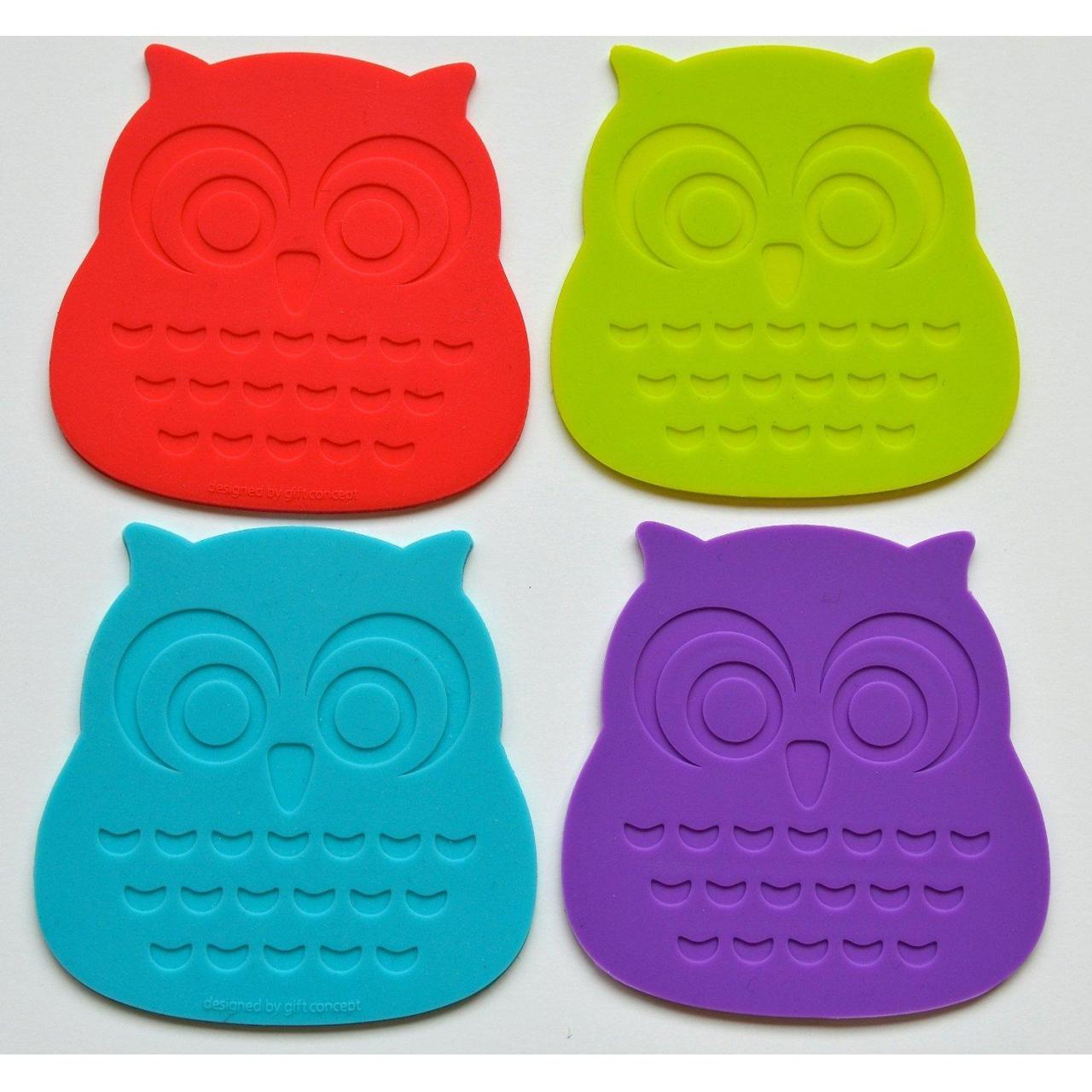 China Set of 4 Stylish and Cool Owl Coasters. Buy Our Silicone Coasters That Protect Your Tabletop Surface wholesale