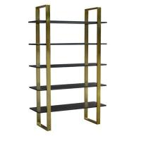 Broadway Antique Brass and Ebony Wood Tiered Etagere 46x16x72