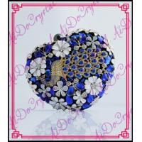 China Aidocrystal heart shaped clutch bags blue crystal dimond wedding bags decorated with peacock wholesale