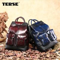 China Handmade designer large capacity Leather Laptop backpack hand PATINAED color Men's bags wholesale