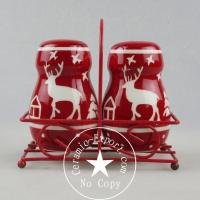 Wholesale Christmas Ceramic Christmas Reindeer Ceramic Slat N Pepper With Metal Stand Wholesale from china suppliers