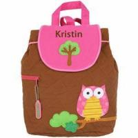 Monogrammed Quilted Backpack by Stephen Joseph - Owl Backpack